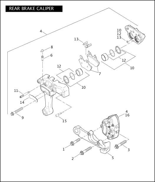 2006 Softail Models Parts Catalog|REAR BRAKE CALIPER