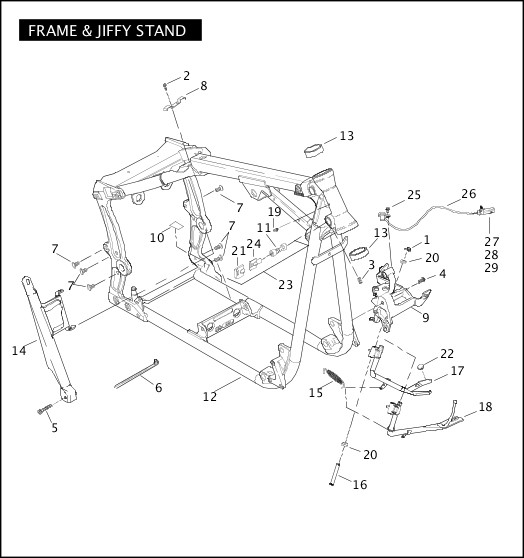 2008 Softail Models Parts Catalog|FRAME & JIFFY STAND