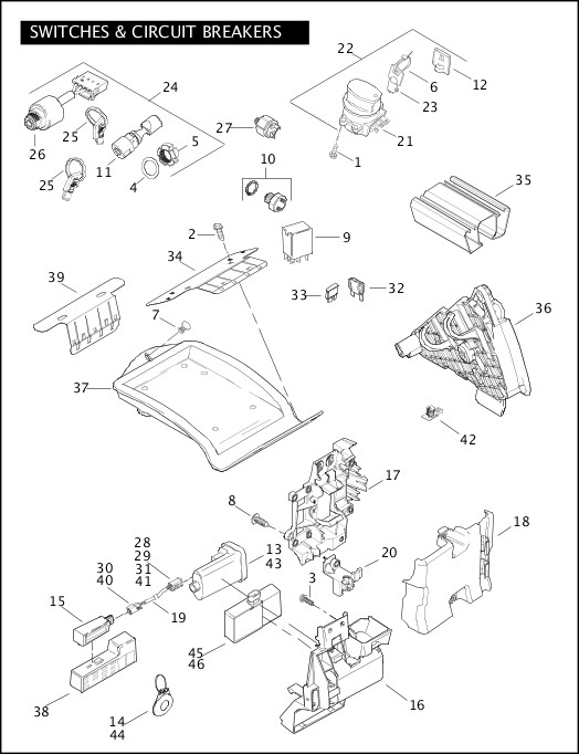 2009 Softail Models Parts Catalog|SWITCHES & CIRCUIT