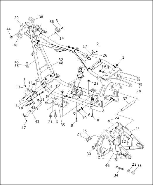 1995-1996 Softail Models Parts Catalog|FRAME, REAR FORK