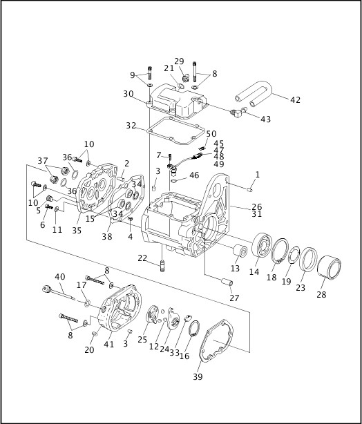 1999 Softail Models Parts Catalog|TRANSMISSION HOUSING (1