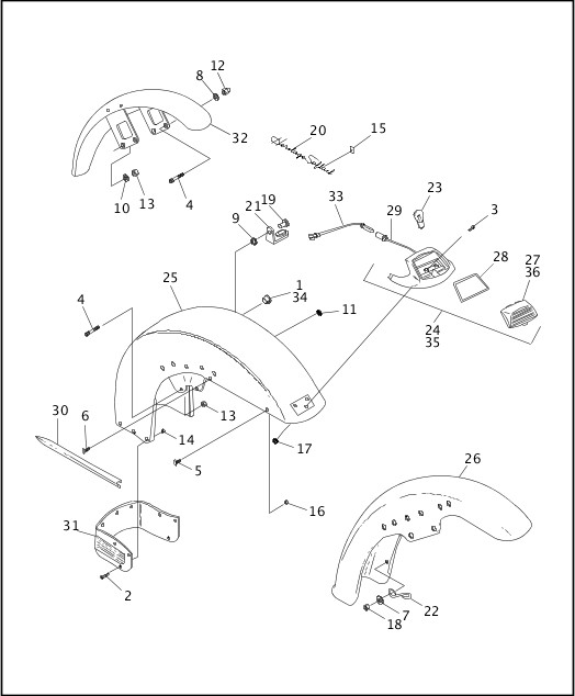 1995-1996 Softail Models Parts Catalog|FRONT FENDER