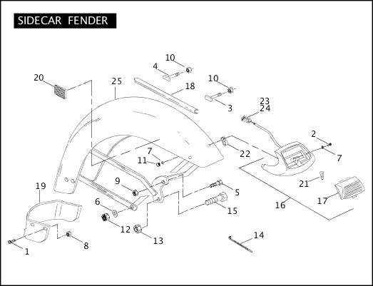2004 Touring Models Parts Catalog|SIDECAR FENDER|Chester