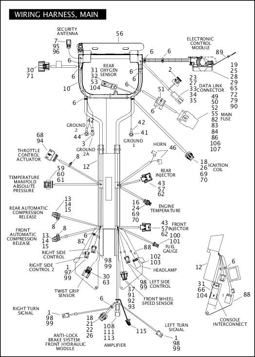 2012 FLSTSE3 Parts Catalog|WIRING HARNESS, MAIN (1 OF 3