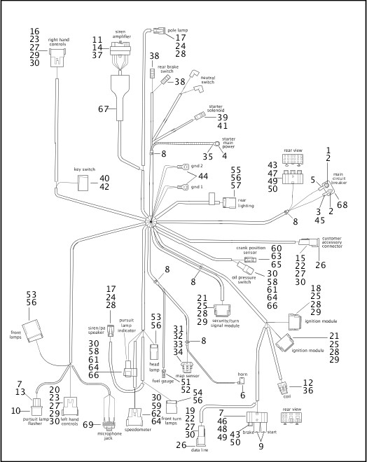 2003 Dyna Police Parts Catalog WIRING HARNESS (1 OF 2