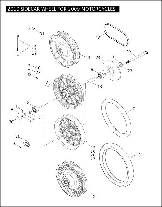 2010 Sidecar Models Parts Catalog 2010 SIDECAR WHEEL FOR