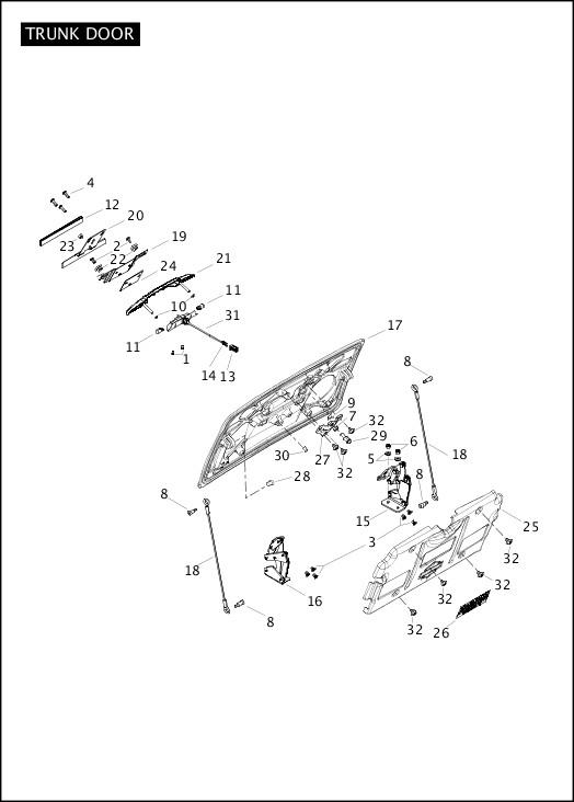 2012 Trike Model Parts Catalog|TRUNK DOOR|Chester Harley