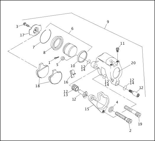 1991-1992 Softail Models Parts Catalog|FRONT BRAKE CALIPER