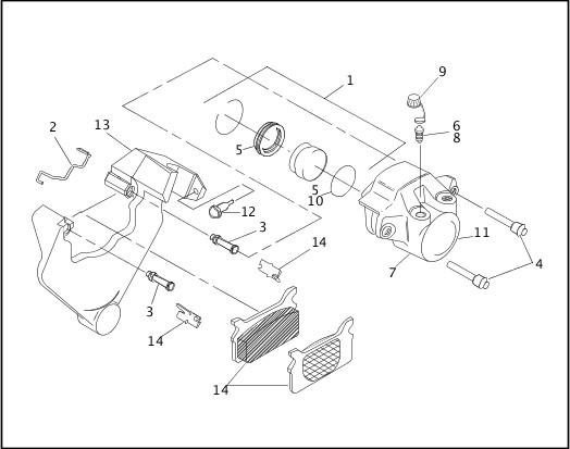1991-1992 Softail Models Parts Catalog|REAR BRAKE CALIPER