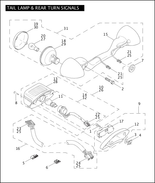 2004 FLHTCSE Parts Catalog TAIL LAMP & REAR TURN SIGNALS