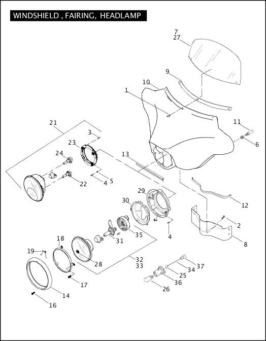 2008 FLHTCUSE3 Parts Catalog|WINDSHIELD, FAIRING, HEADLAMP