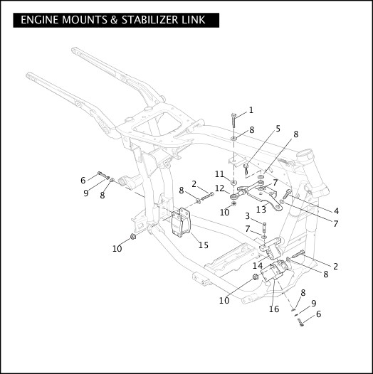 2004 Dyna Models Parts Catalog|ENGINE MOUNTS & STABILIZER