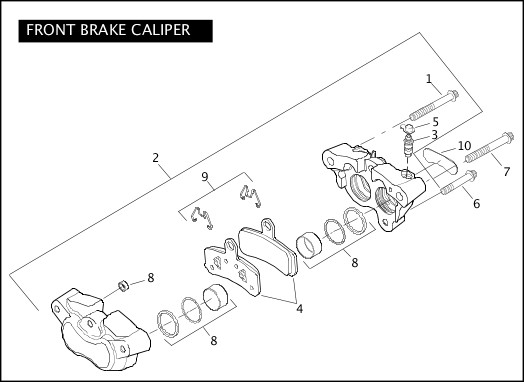 2010 Dyna Models Parts Catalog|FRONT BRAKE CALIPER|Chester