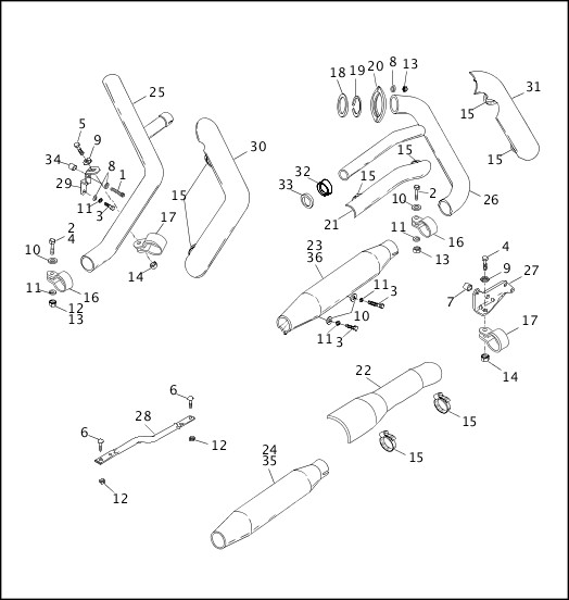 1991-1992 FXR Models Parts Catalog|EXHAUST SYSTEM (1 OF 2