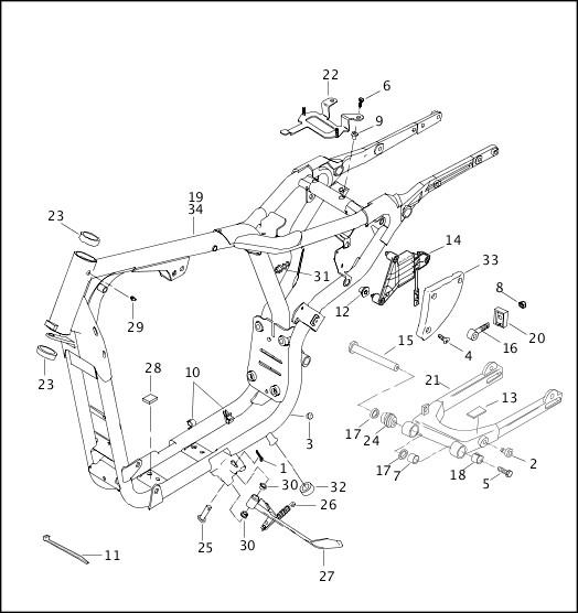 2002 Sportster Models Parts Catalog|FRAME, REAR FORK