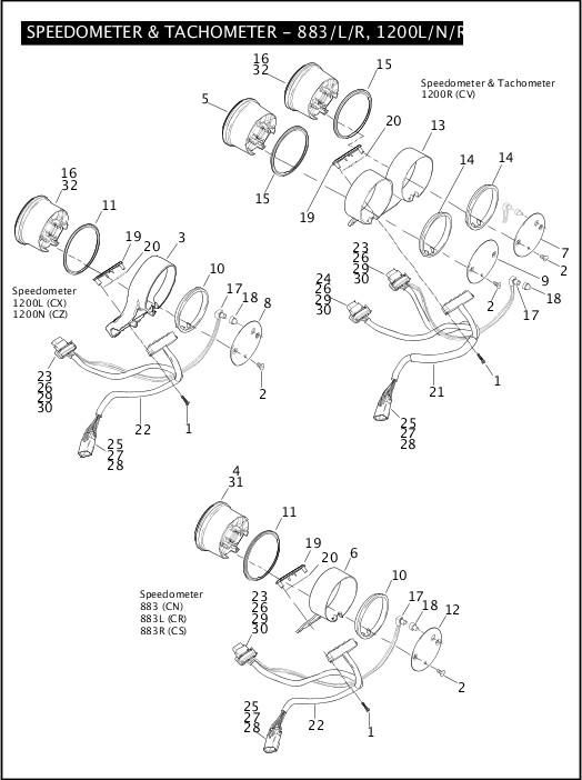 2008 Sportster Models Parts Catalog|SPEEDOMETER
