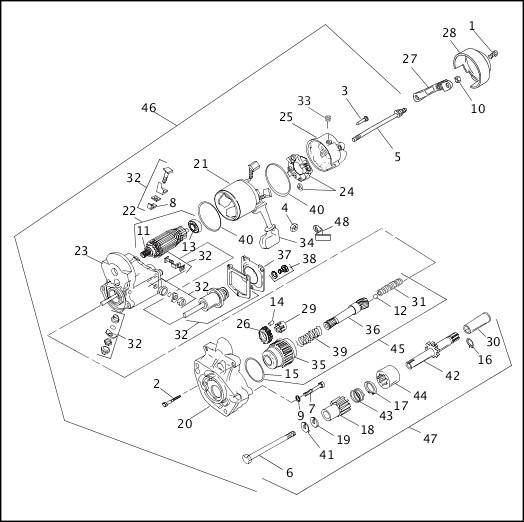 1993-1994 FXR Models Parts Catalog STARTER MOTOR (1 OF 2