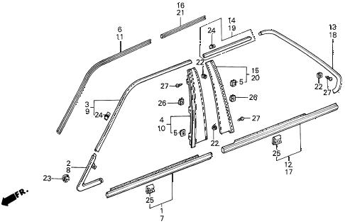 Acura online store : 1988 legend door sash molding parts