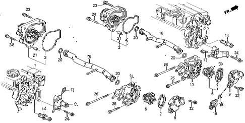Acura online store : 1990 integra water pump parts