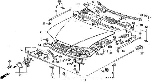 Acura online store : 1992 legend engine hood parts