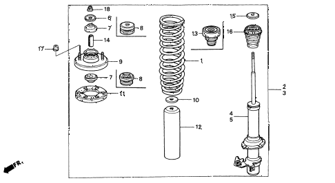 Acura online store : 1996 integra front shock absorber parts