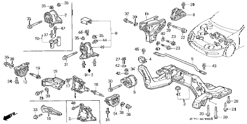 Acura online store : 1998 integra engine mount parts