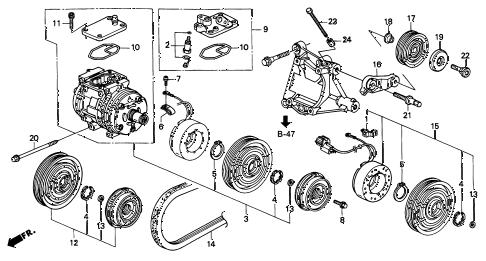 Acura online store : 1998 integra a/c compressor (3) parts