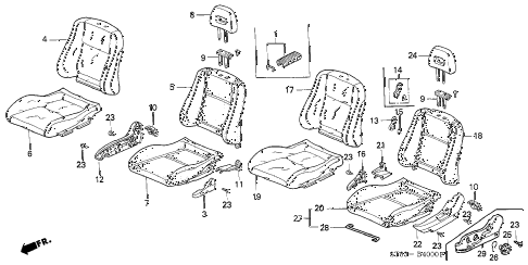Acura online store : 1999 integra front seat parts