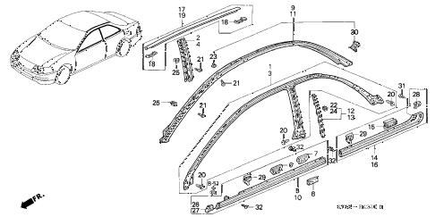 Acura online store : 1996 integra molding parts