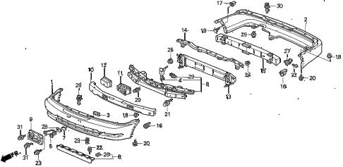 Acura online store : 1996 tl bumper (v6) parts