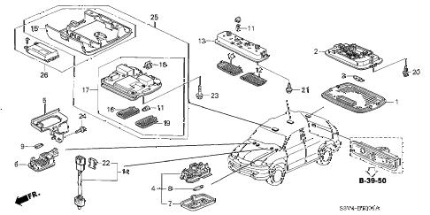 Acura online store : 2005 mdx interior light (2) parts