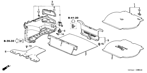 Acura online store : 2006 rsx trunk lining parts