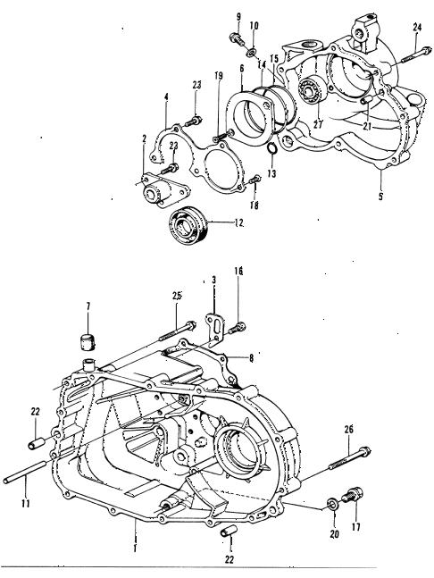 Honda online store : 1974 civic hmt transmission case parts