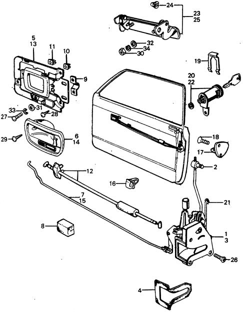 Honda online store : 1976 civic door lock parts