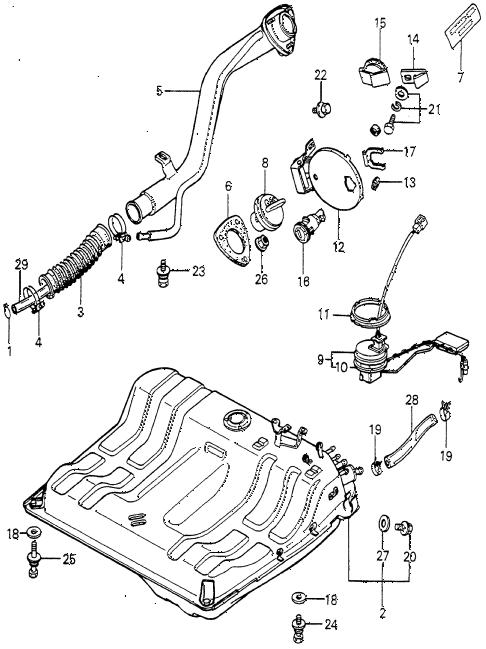 Honda online store : 1981 prelude fuel tank parts