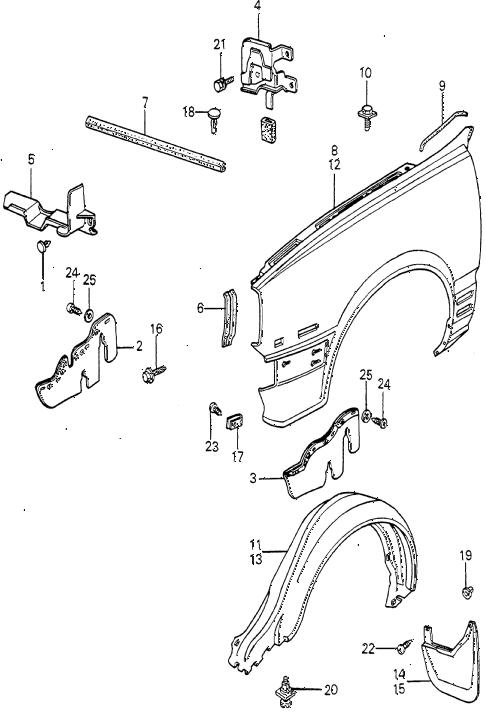Honda online store : 1981 prelude front fender parts