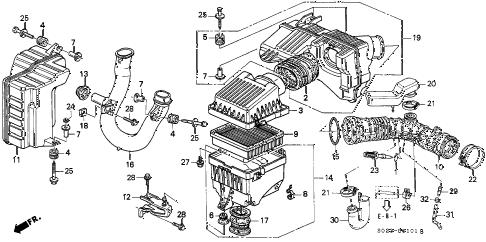 Honda online store : 2000 civic air cleaner (vtec) parts