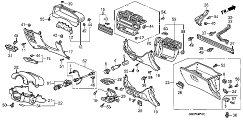 Honda online store : 1999 civic instrument garnish parts