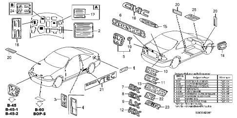 Honda online store : 2000 civic emblems parts