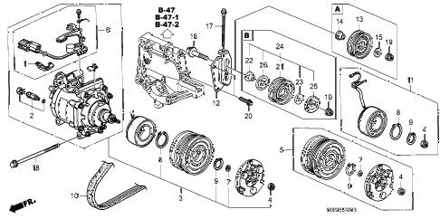 Honda online store : 1998 civic a/c compressor (sanden) parts