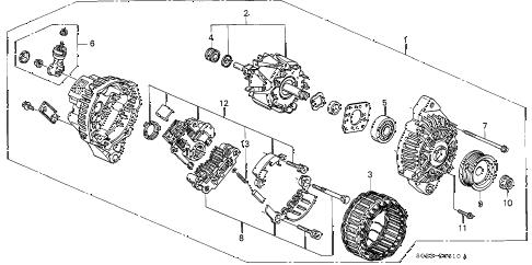 Honda online store : 2000 civic alternator (mitsubishi) parts