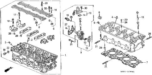 Honda online store : 1999 civic cylinder head (dohc vtec