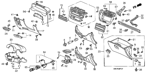 Honda online store : 2000 civic instrument garnish parts
