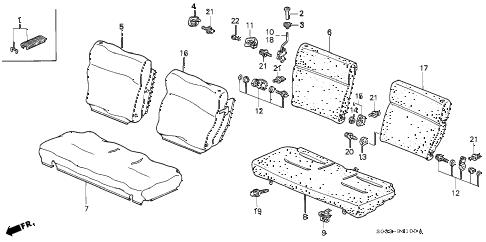 Honda online store : 1997 civic rear seat parts