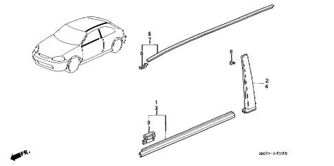 Honda online store : 1996 civic molding parts