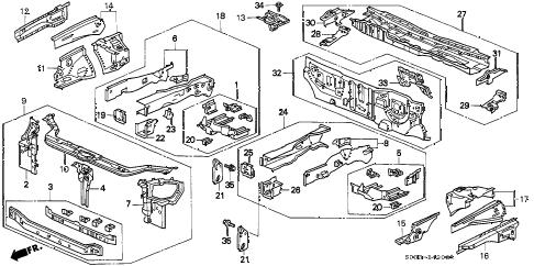 Honda online store : 2000 civic front bulkhead parts