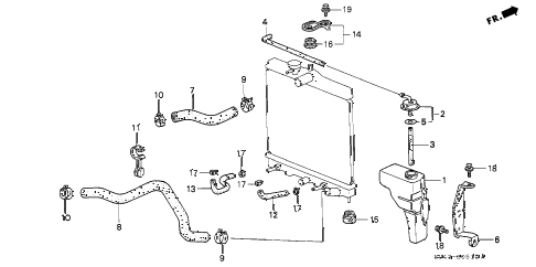 Honda online store : 1997 civic radiator hose parts