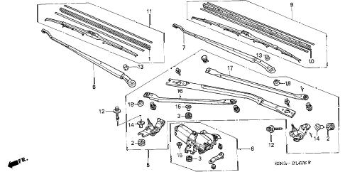 Honda online store : 1997 civic front windshield wiper (1