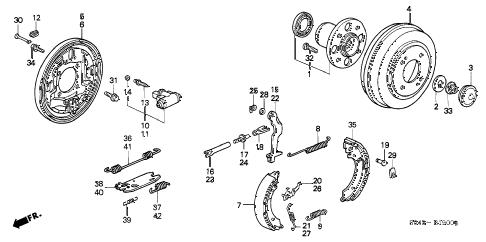 Honda online store : 1996 civic rear brake (drum) parts