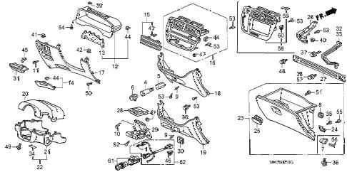 Honda online store : 1996 civic instrument garnish parts